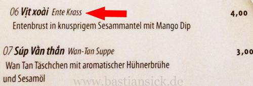"Ente krass_WZ (Speisekarte des Restaurants ""From Hanoi with Love"" in Berlin) © Patrik Boerner 22.04.2014_TiUgAmU9_f"