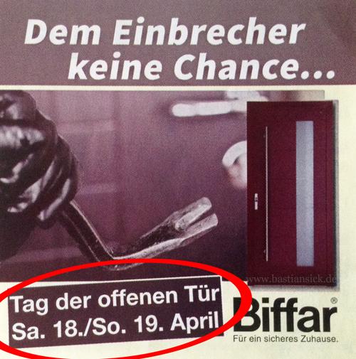 Dem Einbrecher keine Chance – Tag der offenen Tür_WZ (Werbeaufkleber in der Berliner Zeitung) von Thilo Folesky 17.04.2015_zBmyBaCw_f