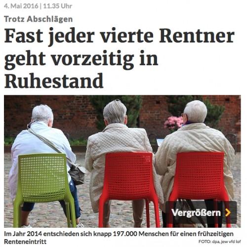 Jeder vierte Rentner geht vorzeitig in den Ruhestand rp-online vom 4.5.2016 Georg van der Staay_O2nbLJVk_f