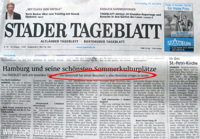 Die Hansestadt und seine Besucher Stader Tageblatt 23.6.2016 © Winfried Rainer_WZ