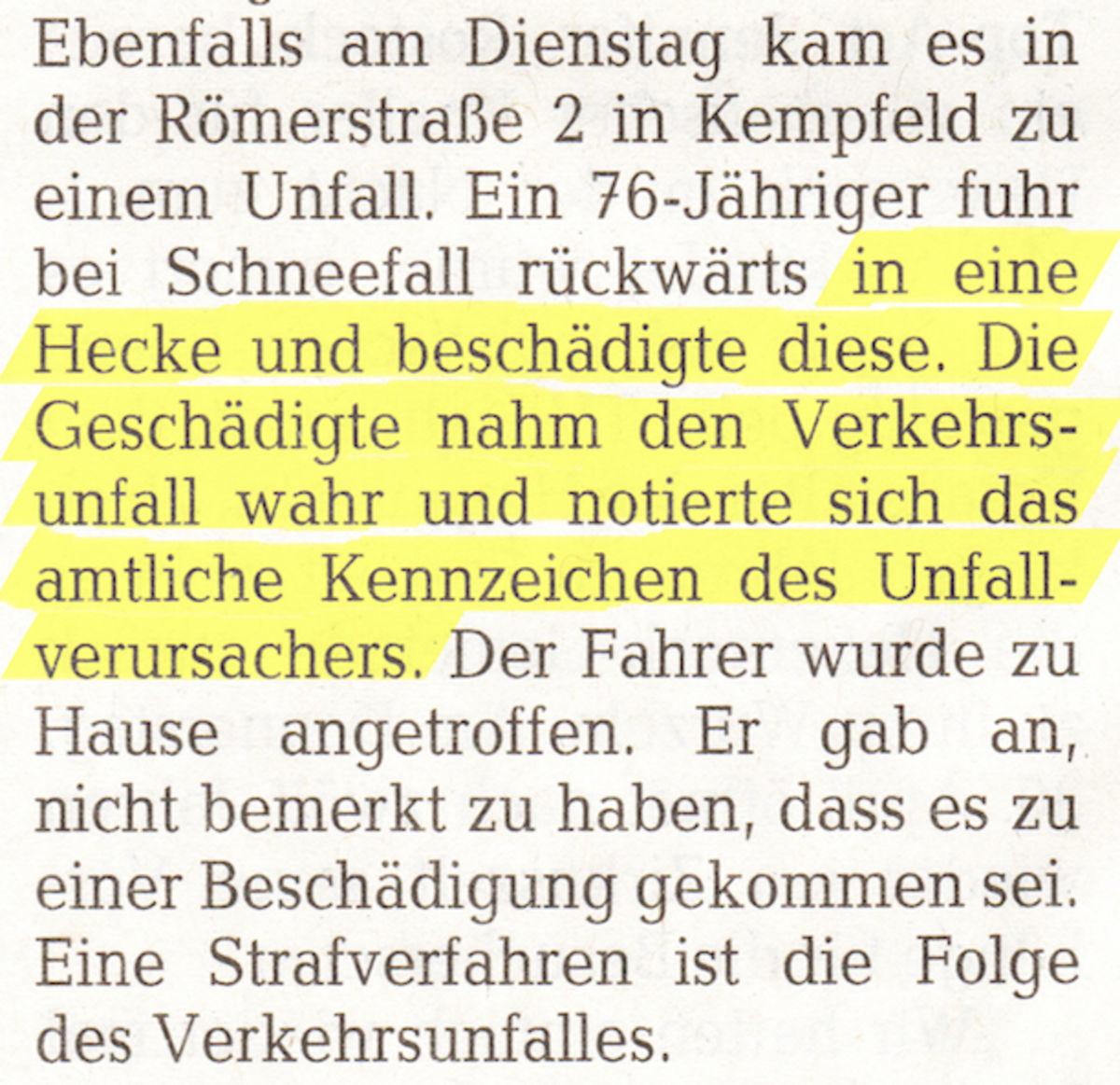 Geschädigte Hecke notierte sich das Kennzeichen (Nahezeitung 5.3.2015) Günter Jung aus Idar-Oberstein per Post 12.1.2017_(Ausschnitt)